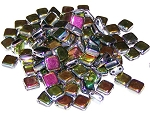 25 Czech Glass 2-Hole 6mm Tile Beads - Jet Vitrail Full