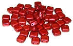 25 Czech Glass 2-Hole 6mm Tile Beads - Lava Red