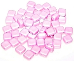 25 Czech Glass 2-Hole 6mm Tile Beads - Pastel Rose