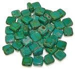 25 Czech Glass 2-Hole 6mm Tile Beads - Persian Turquoise Picasso