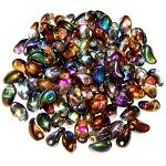 7.5 Grams of 4x6mm Czech Glass Tulip Petal Beads - Crystal Magic Copper
