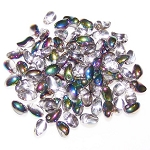 7.5 Grams of 4x6mm Czech Glass Tulip Petal Beads - Crystal Vitrail