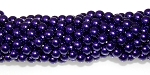 1 Strand of Czech Glass 6mm Pearl Beads - Purple