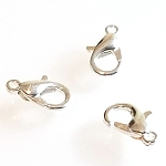 50 Silver-Plated 12x6mm Lobster Clasps w/ 5mm Jump Rings