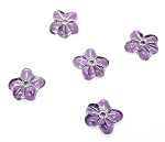 10 Czech Glass 14mm 5-Petal Pressed Flower Beads - Violet Silver Fire