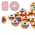 2.5 Grams Of 2x3mm Czech Glass Faceted Micro Spacers - Copper Plated AB