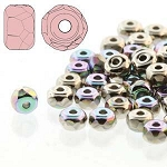 2.5 Grams Of 2x3mm Czech Glass Faceted Micro Spacers - Nickel Plated AB
