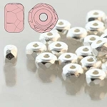 2.5 Grams Of 2x3mm Czech Glass Faceted Micro Spacers - Fine Silver Plated