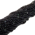 1 Strand of 4mm Round Semiprecious Gemstone Beads - Obsidian