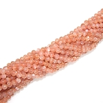 1 Strand of 4mm Round Semiprecious Gemstone Beads - Pink Moonstone