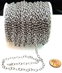 8 Ft (2.5 meters) of Antique Silver-Plated Cable Chain 6x4mm