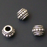 25 Antique Silver-Plated 6x8mm Beaded Spacers
