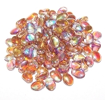 7.5 Grams of 6x8mm Czech Glass Tulip Petal Beads - Crystal Brown Rainbow