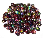 7.5 Grams of 6x8mm Czech Glass Tulip Petal Beads - Crystal Magic Wine
