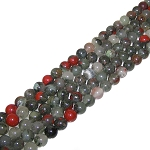 1 Strand of 8mm Round Semiprecious Gemstone Beads - African Bloodstone