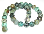 6 African Turquoise 12mm Round Semiprecious Gemstone Beads