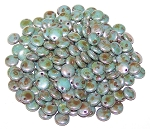 7.5 Grams of Czech 1-Hole 6mm Lentil Beads - Chalk White Blue Luster