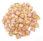 10 Pyramid 6mm Stud Beads - Alabaster Roman Rose