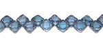 40 Czech Glass Silky 2-Hole 6mm Beads - Alexandrite Blue Luster
