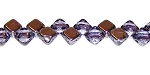 40 Czech Glass Silky 2-Hole 6mm Beads - Alexandrite Chrome