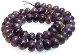 1 Strand of Amethyst 12x8mm Puff Rondelle Semiprecious Gemstone Beads