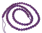 1 Strand of 4mm Round Semiprecious Gemstone Beads - Amethyst