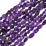 1 Strand of Amethyst 7x10mm Irregular Nuggets Semiprecious Gemstone Beads
