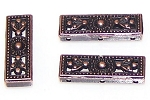 5 Antique Copper 26x9x4mm Decorative 3-Hole Spacer Bars