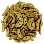 7.5 Grams of CzechMates Crescent Czech Glass Beads - Antique Gold