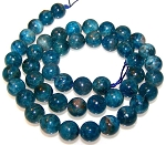 1 Dozen 8mm Round Semiprecious Gemstone Beads - Apatite