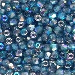 4 Dozen Czech 2mm Fire-Polished Glass Beads - Aqua Graphite Rainbow