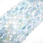 1 Strand of Aquamarine 7x10mm Irregular Nuggets Semiprecious Gemstone Beads
