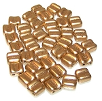 40 Grooved Tile 2-Hole Czech Glass Groovy Beads - Aztec Gold