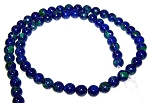 1 Dozen 6mm Round Semiprecious Gemstone Beads - Azurite