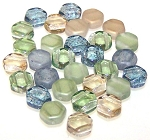 30 Czech Glass 6mm Honeycomb Hex 2-Hole Beads - Beach Mix