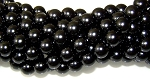 1 Strand of Czech Glass 10mm Pearl Beads - Black