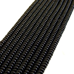 1 Strand of 8x5mm Puff Rondelle Semiprecious Gemstone Beads - Black Onyx