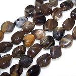 1 Strand of Semiprecious Gemstone Large Nugget Beads - Black Petrified Wood