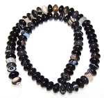 1 Strand of 8x5mm Puff Rondelle Semiprecious Gemstone Beads - Black Striped Agate