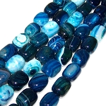 1 Strand of Semiprecious Gemstone Large Nugget Beads - Blue Banded Agate