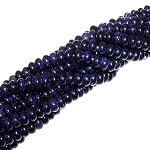 1 Strand of 8x5mm Puff Rondelle Semiprecious Gemstone Beads - Blue Goldstone