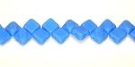 40 Czech Glass Silky 2-Hole 6mm Beads - Blue Opaque