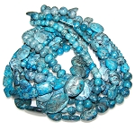 Blue Picasso Jasper Semiprecious Gemstone Beads - 9 Strand Set