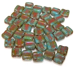 40 Grooved Tile 2-Hole Czech Glass Groovy Beads - Turquoise Blue Dark Travertine