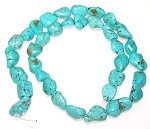 1 Strand of Blue Turquoise Colored Howlite 7x10mm Irregular Nuggets Semiprecious Gemstone Beads