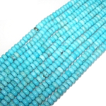 1 Strand of 8x5mm Puff Rondelle Semiprecious Gemstone Beads - Turquoise Colored Howlite