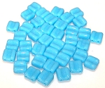 40 Grooved Tile 2-Hole Czech Glass Groovy Beads - Blue Turquoise Opaque