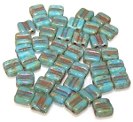 40 Grooved Tile 2-Hole Czech Glass Groovy Beads - Turquoise Blue Picasso