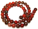 1 Dozen 8mm Round Semiprecious Gemstone Beads - Brecciated Jasper