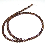 1 Strand of 4mm Round Semiprecious Gemstone Beads - Bronzite